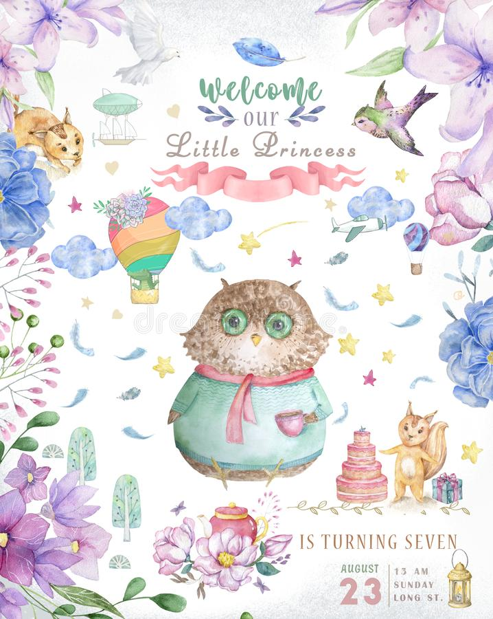 Watercolor cute Cartoon Owl. Cute baby greeting card. Boho flowers and floral bouquets Happy Birthday set. Watercolor greeting. Baby card on white background stock image