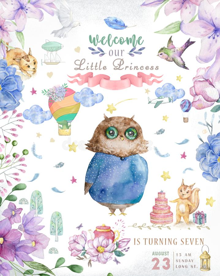 Watercolor cute Cartoon Owl. Cute baby greeting card. Boho flowers and floral bouquets Happy Birthday set. Watercolor greeting. Baby card on white background stock images