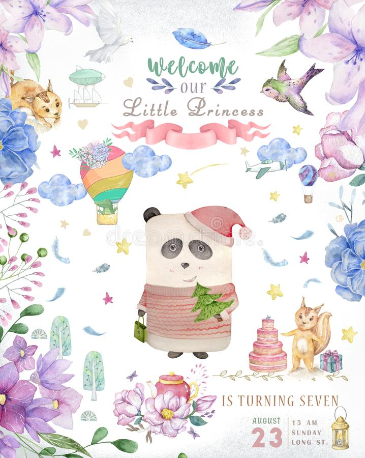 Watercolor cute Cartoon Owl. Cute baby greeting card. Boho flowers and floral bouquets Happy Birthday set. Watercolor greeting. Baby card on white background stock photos