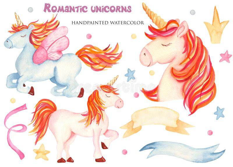 Watercolor with cute cartoon pink and blue unicorn. vector illustration