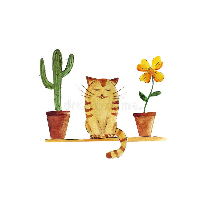Watercolor cute cat and cactus and flower pots isolated. On white background vector illustration