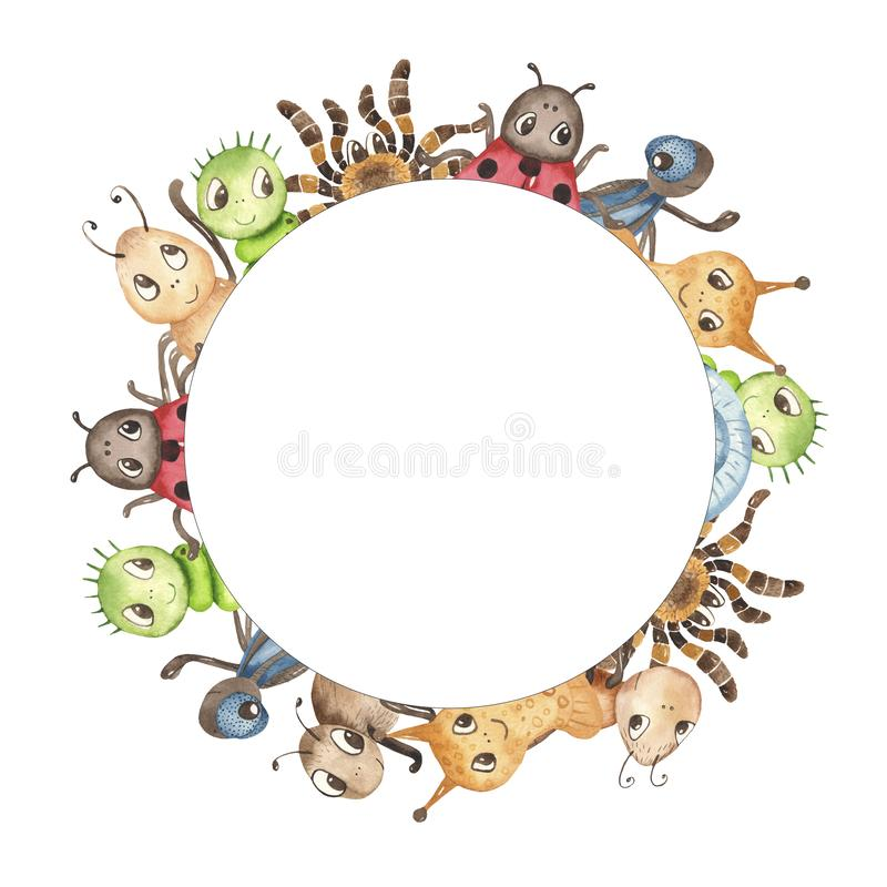 Watercolor cute childish cartoon illustration with insects. royalty free illustration