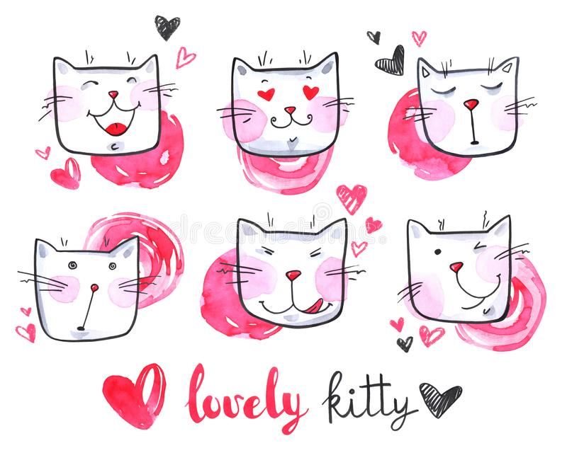Watercolor cute collection of cats. Lovely kittens. Original hand drawn illustration. Cartoon. vector illustration