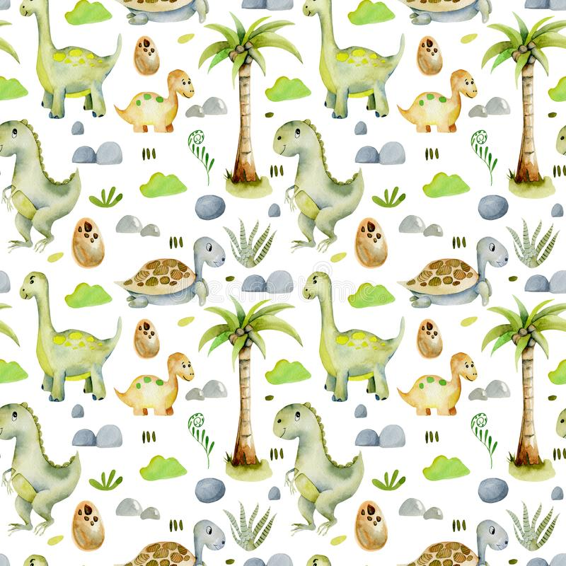 Watercolor cute dinosaurs and prehistoric turtles seamless pattern vector illustration