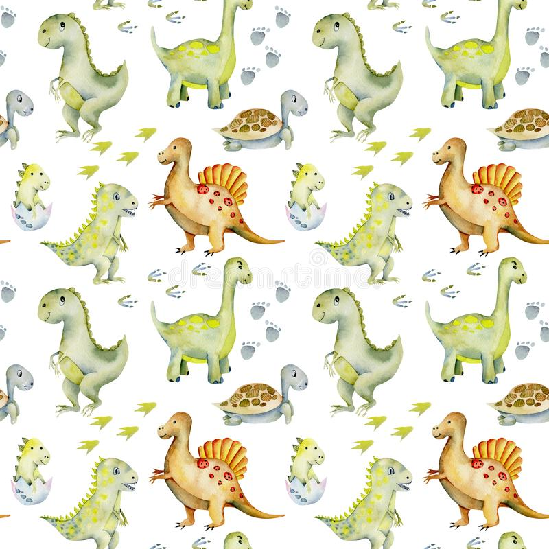 Watercolor cute dinosaurs, turtles and baby dino seamless pattern stock illustration