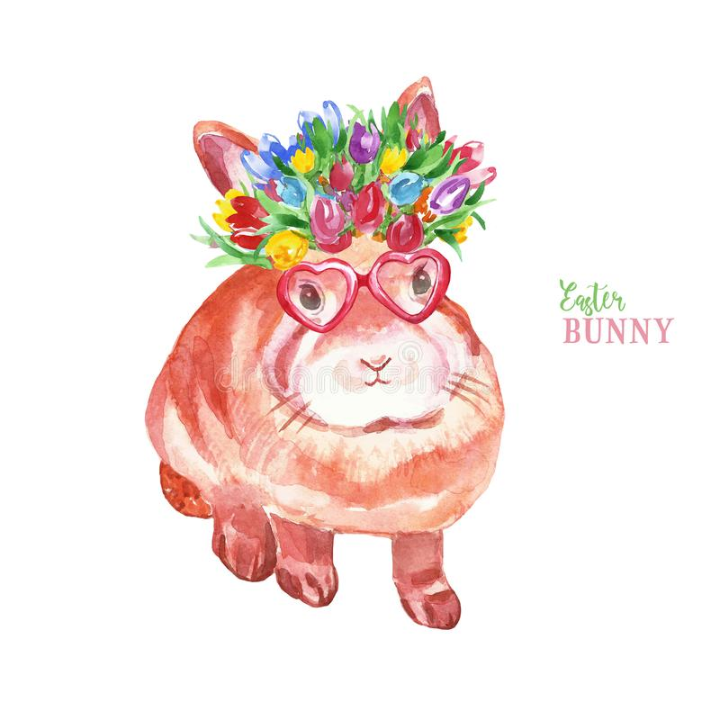Watercolor cute Easter bunny. Hand painted small rabbit in flower crown and sunglasses, isolated on white background. Baby animal stock illustration