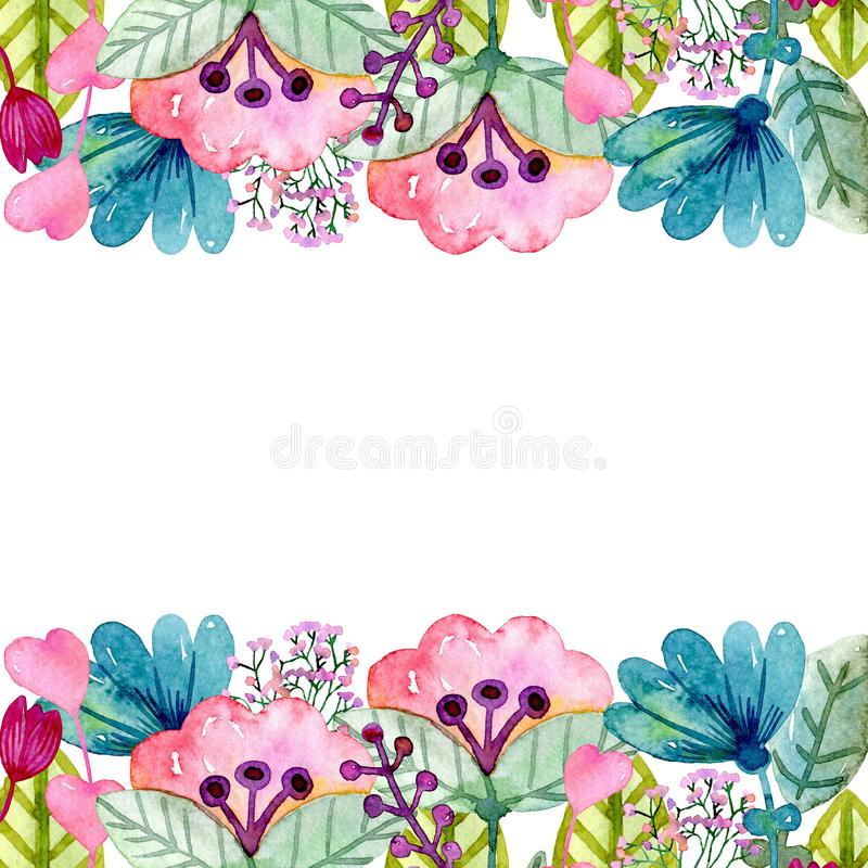 Watercolor cute flowers vector illustration