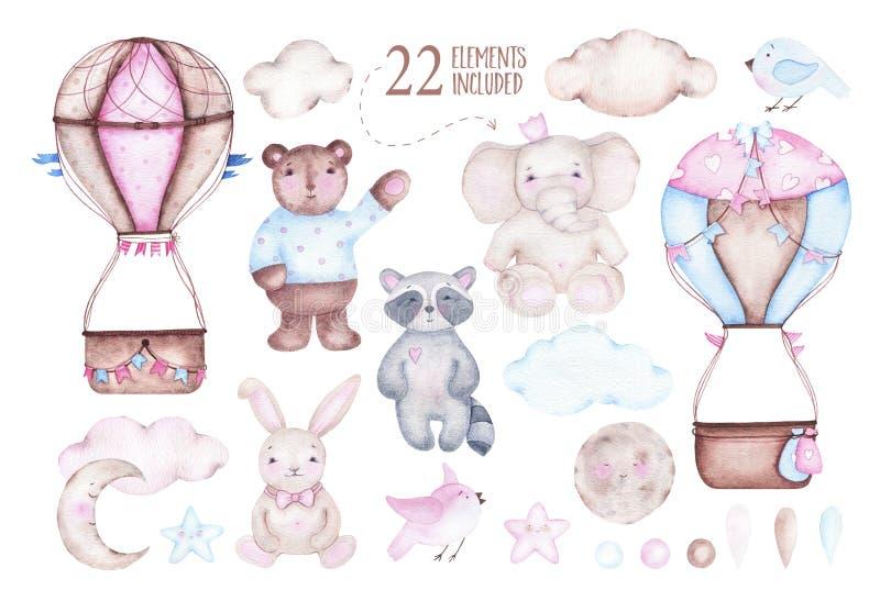 Watercolor cute hot air balloon with elephant bear raccoon bunny moon birds royalty free illustration