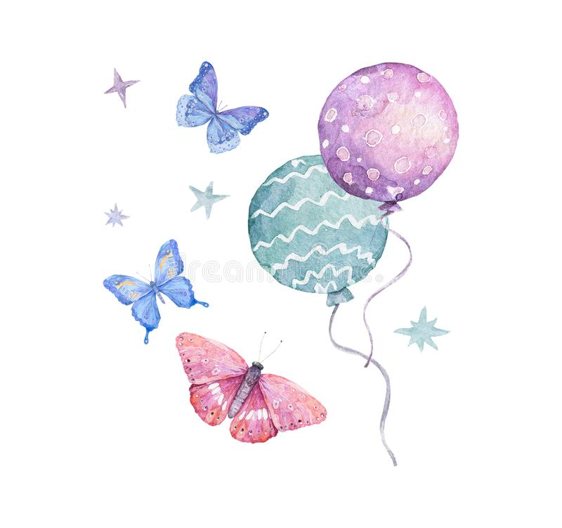 Free Watercolor Cute Illustration Colorful Pink Balloons With Blue Butterflies Isolated And Stars On White Background. Hand Draw Clip Stock Photo - 167673540