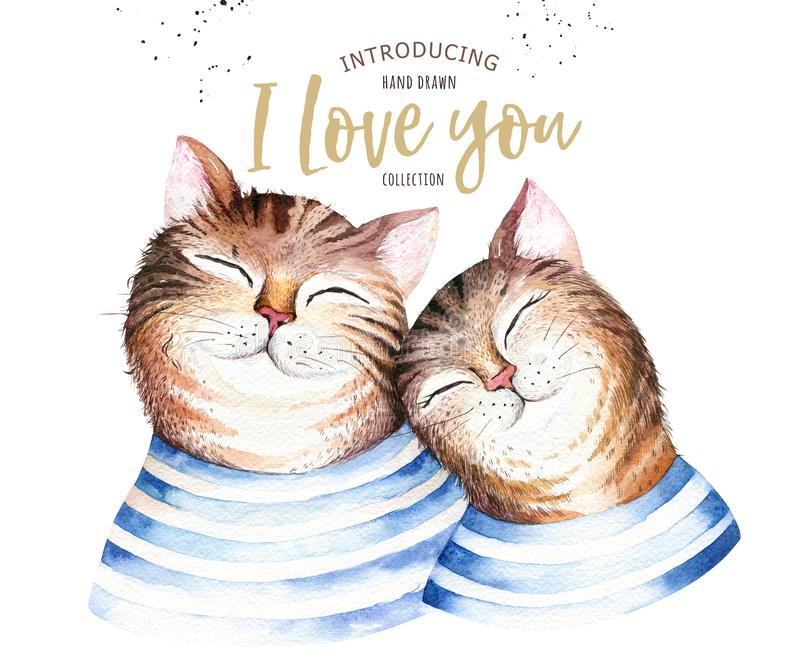 Watercolor cute isolated cat ilustration. Love cartoon cats character for valentine`s card. Nursary art design. stock illustration