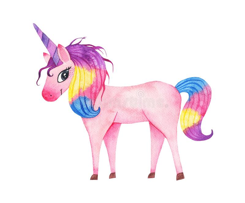 Watercolor cute magic pink unicorn with horn isolated on white background royalty free stock photo
