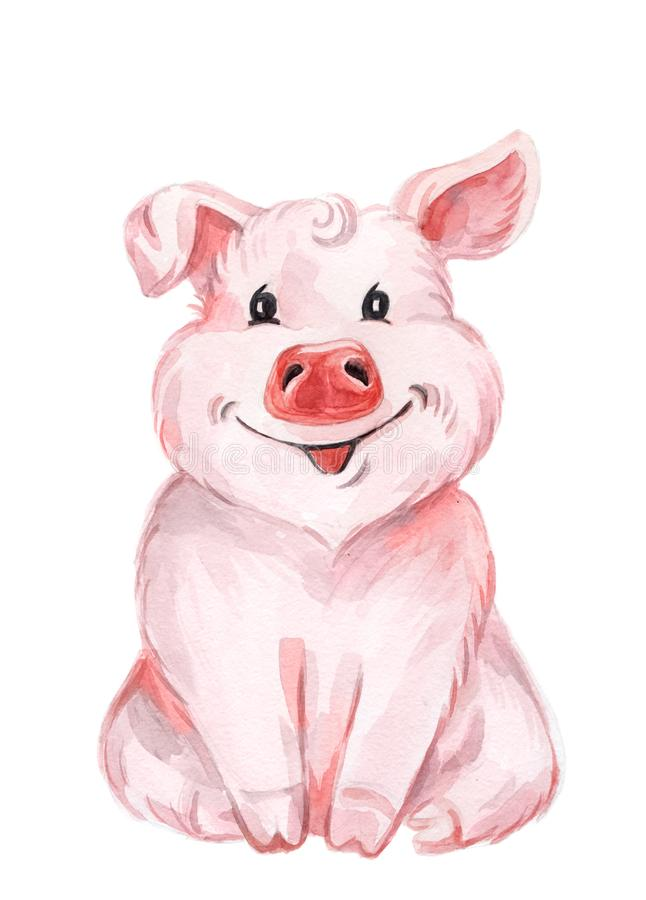 Watercolor cute pig royalty free illustration