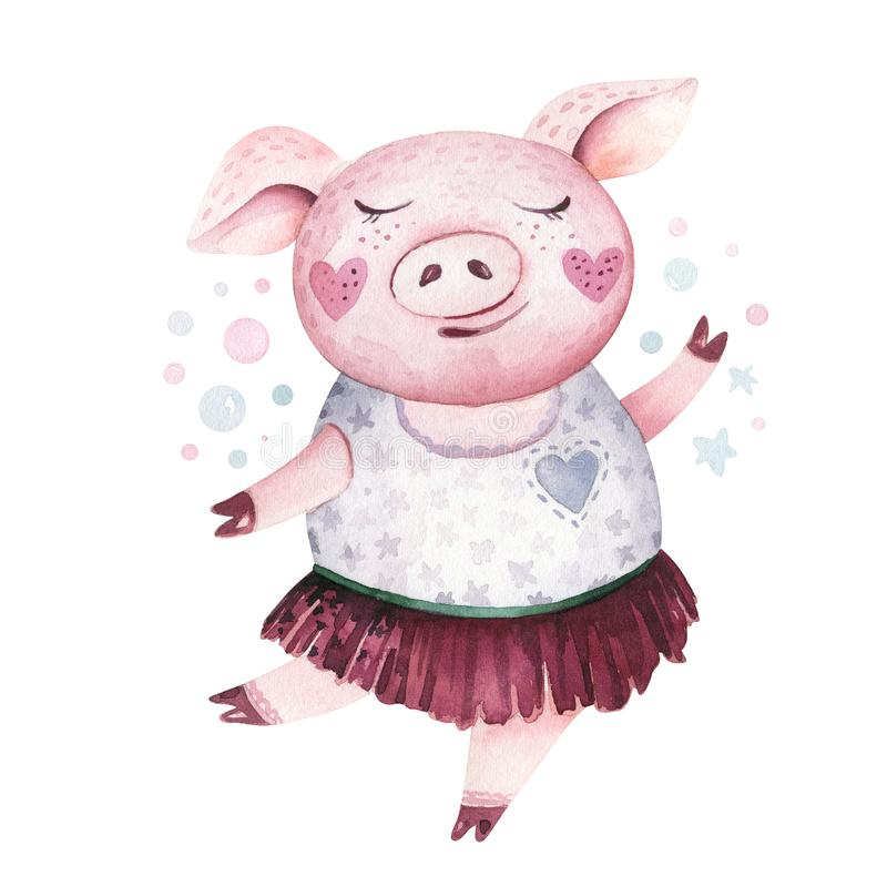 Watercolor cute Pig symbol 2019 illustration. Isolated funny cartoon ping animal Happy Chinese New Year piggy art. Watercolor cute Pig symbol 2019 illustration royalty free illustration