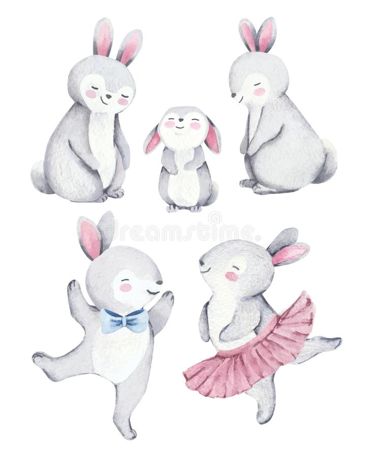 Watercolor cute rabbits family stock images