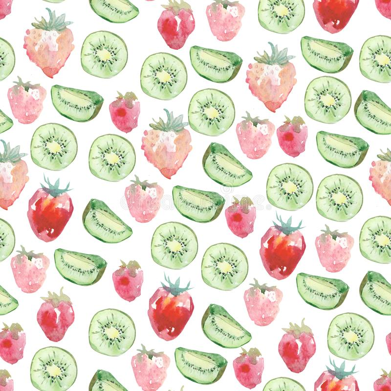 Watercolor cute seamless pattern baby tropical fruits and barry. Hand painted exotic coctails on white background. royalty free illustration