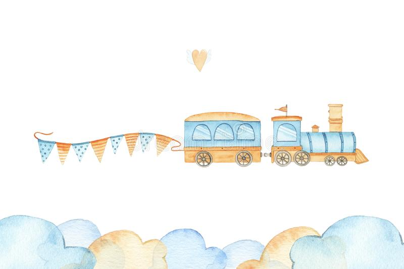 Watercolor cute train with flags locomotive transportation railway child toy for boy royalty free illustration
