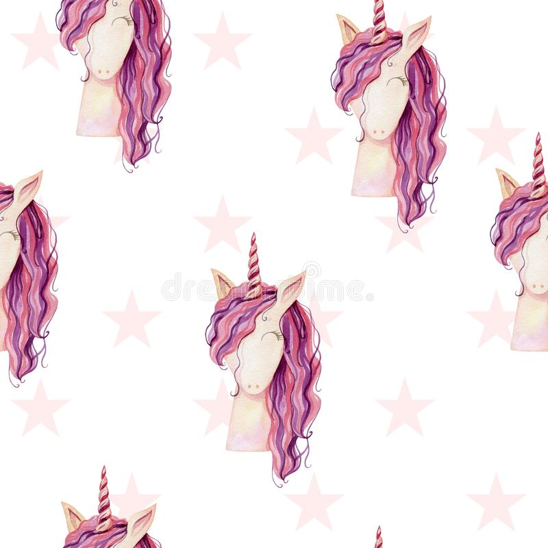 Watercolor cute unicorn. Watercolor unicorn seamless pattern. Magical fantasy character royalty free illustration