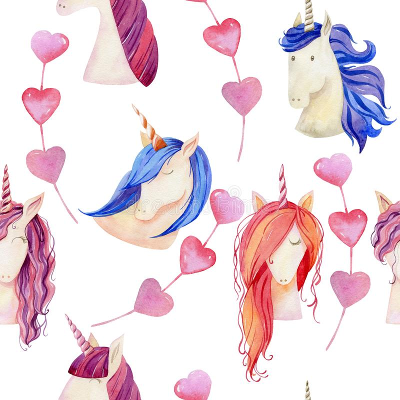 Watercolor cute unicorns. Watercolor unicorns seamless pattern. Magical fantasy character vector illustration