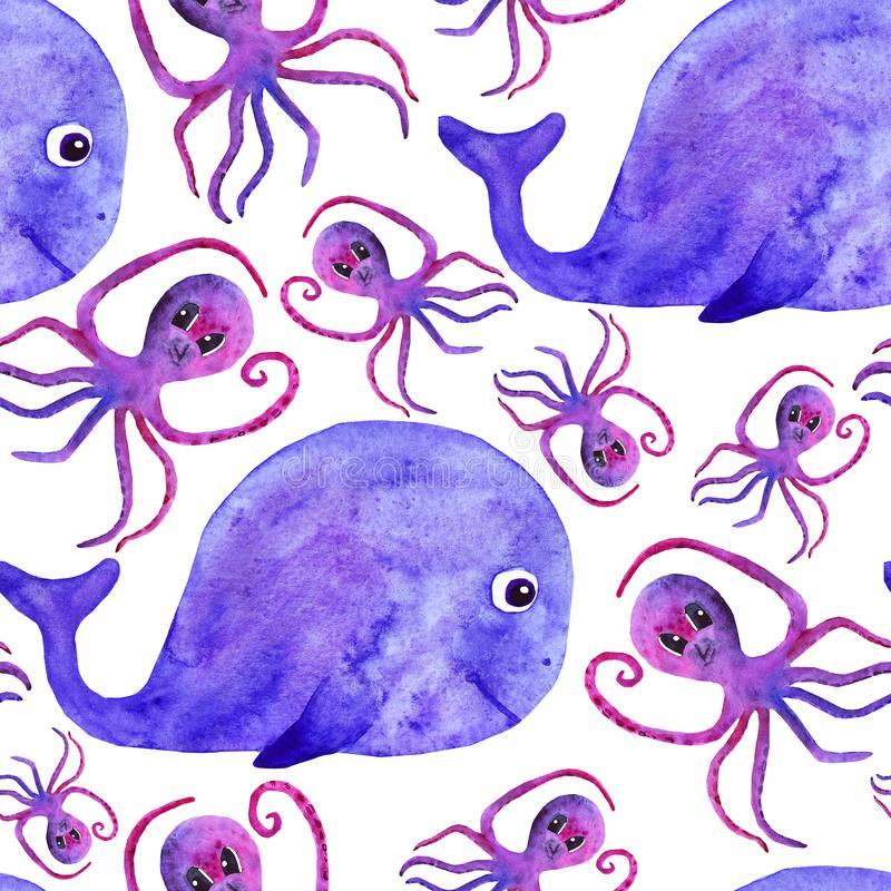 Watercolor cute whale and octopus seamless pattern. fun pattern for kids. underwater world. Sea vector illustration