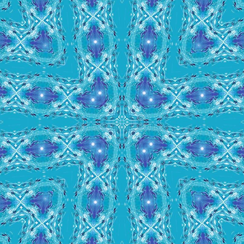 Watercolor cyan blue cross form bandana sarong pillow seamless pattern royalty free illustration