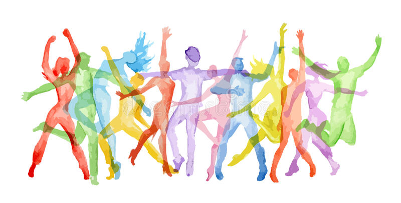 Watercolor dance set. Watercolor dance set on white background. Dance poses. Healthy lifestyle, getting energy
