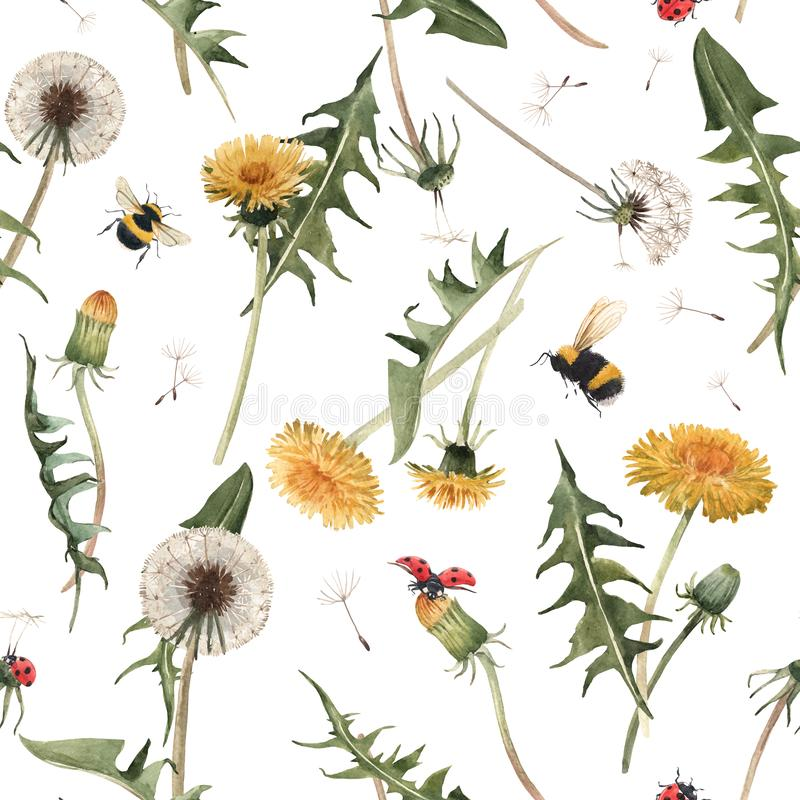 Free Watercolor Dandelion Blowball Floral Seamless Pattern Royalty Free Stock Photography - 148268067