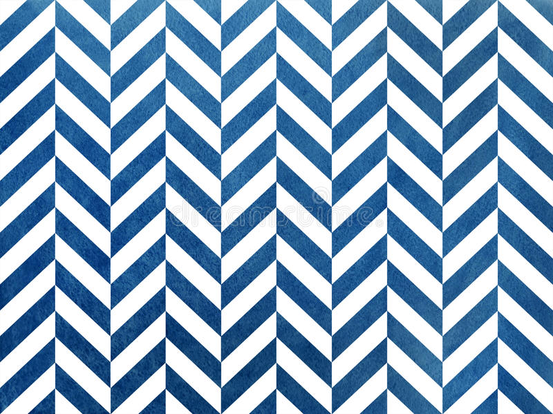 Watercolor dark blue stripes background, chevron. royalty free illustration