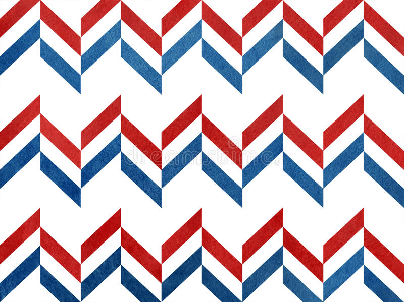 Watercolor dark red and dark blue stripes background, chevron. vector illustration