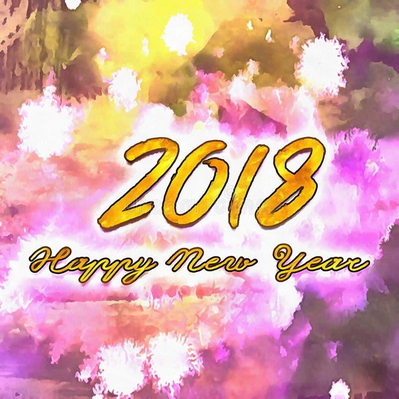 Watercolor/2018 de bonne année illustration de vecteur