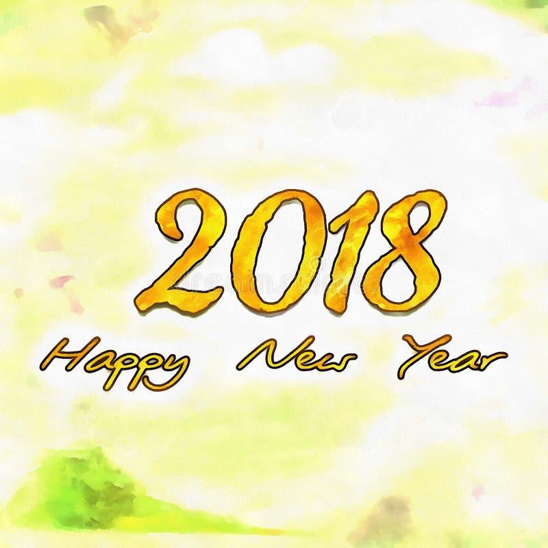 Watercolor/2018 de bonne année illustration libre de droits
