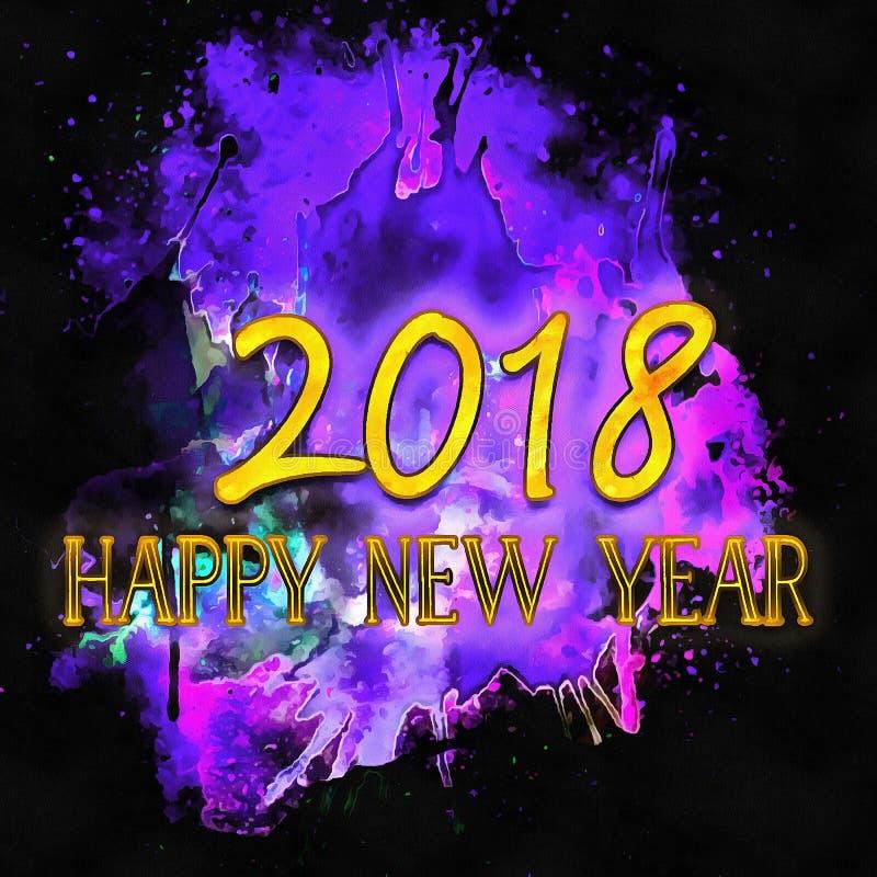 Watercolor/2018 de bonne année illustration stock