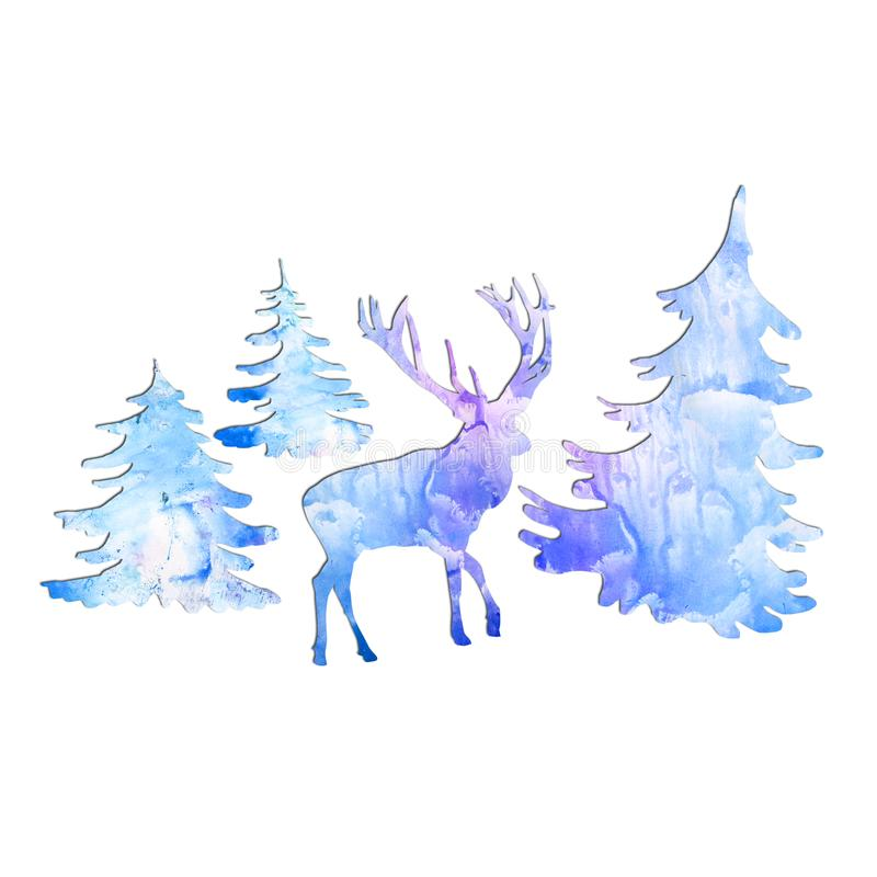 Watercolor deer in forest on free light blue paint designs abstract background. Hand drawn Merry Christmas symbol, Santa`s helper. Wildlife animal silhouette stock illustration