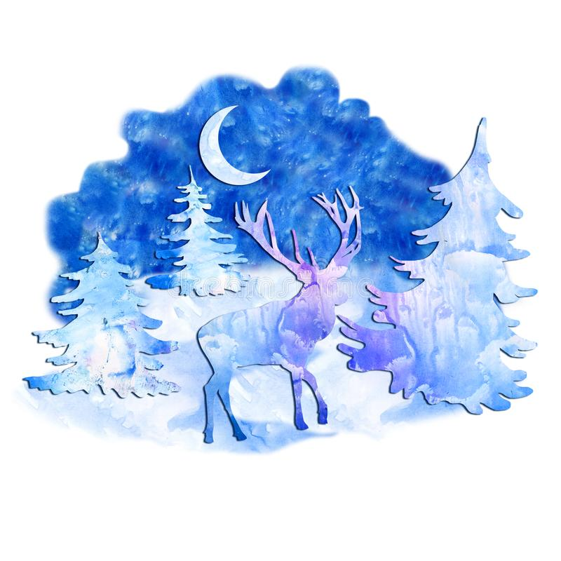 Watercolor deer in forest at night on free light blue paint designs abstract background. Hand drawn Merry Christmas symbol, Santa. `s helper. Wildlife animal stock illustration