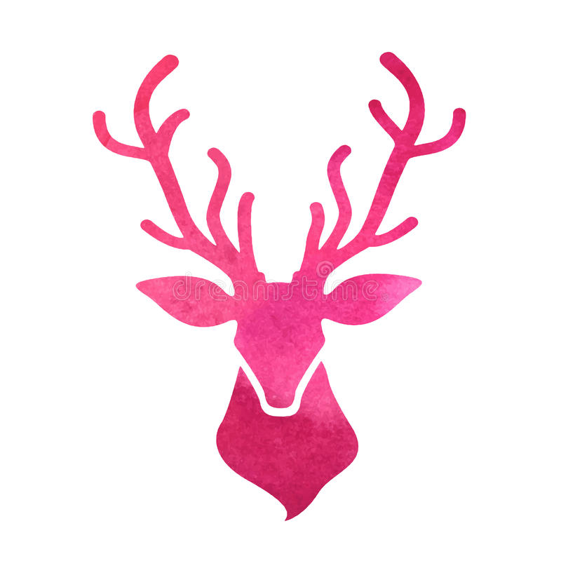 Watercolor deer head on a white background stock illustration