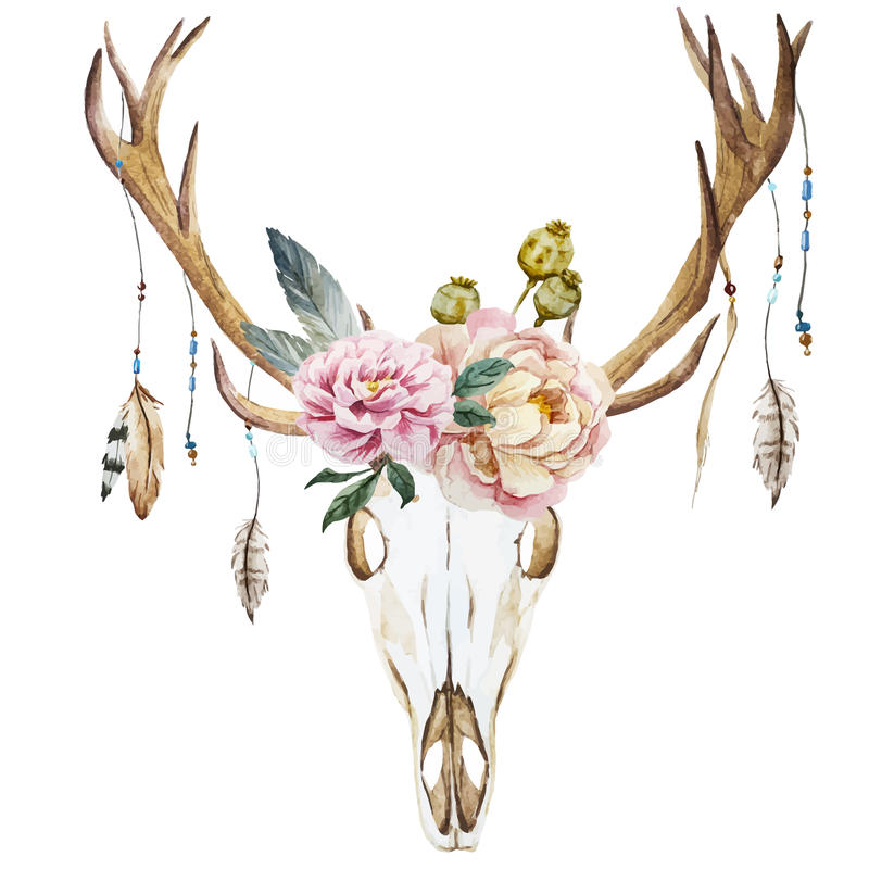 Watercolor deer head with wildflowers vector illustration
