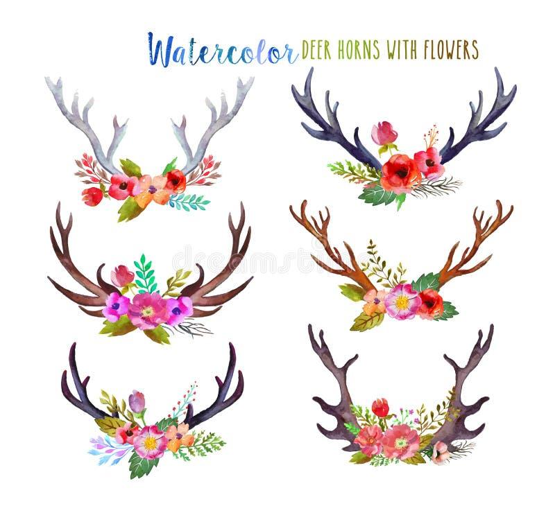 Watercolor deer horns vector illustration