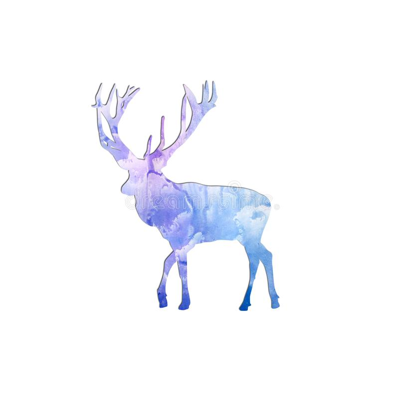 Watercolor deer silhouette on free light blue paint designs abstract background. Hand drawn Merry Christmas symbol, Santa`s helpe. R. Wildlife animal silhouette royalty free illustration