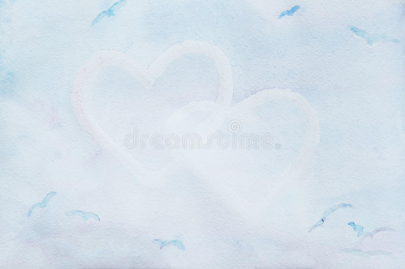 Watercolor delicate, blue, hearts. Abstract love background . Concept about and relationship, place for your text. Watercolor delicate, blue, hearts. Abstract stock photo