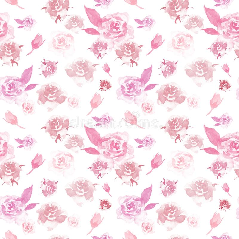 Watercolor delicate floral pattern with pink roses on white background. Beautiful botanical print. Watercolor floral pattern with pink roses on white background stock illustration