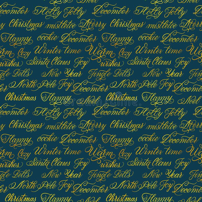 Watercolor Christmas seamless pattern with golden calligraphy words and phrases. Watercolor delicate seamless pattern with gold Spencerian lettering with stock illustration
