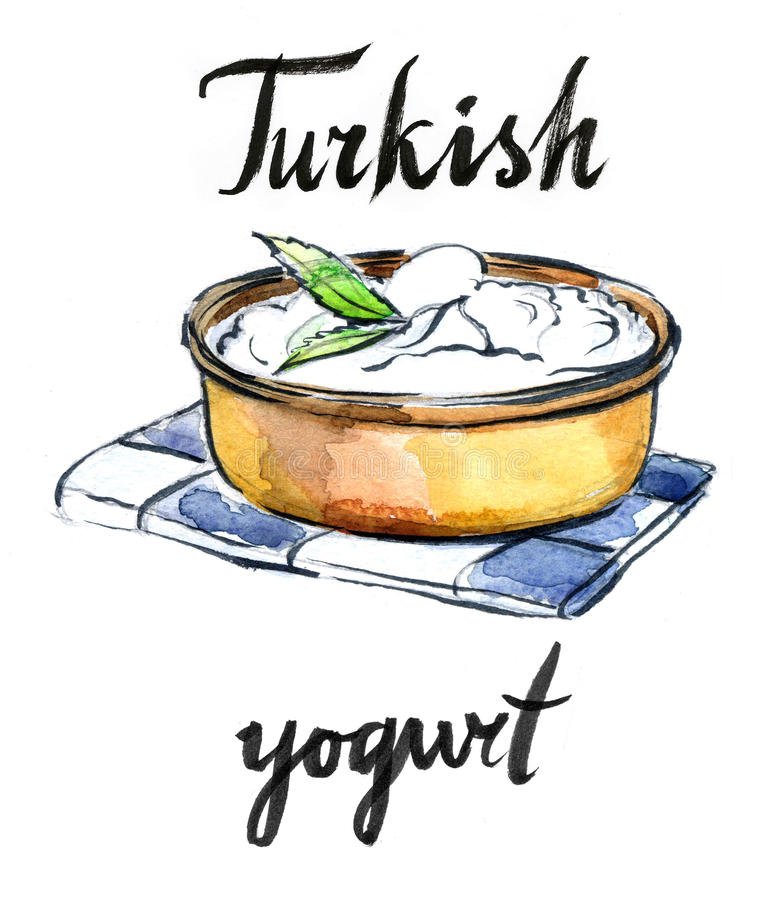 Watercolor delicious homemade yogurt with mint. Hand drawn - Illustration stock illustration
