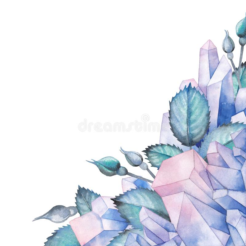Watercolor design with crystals and leaves stock illustration