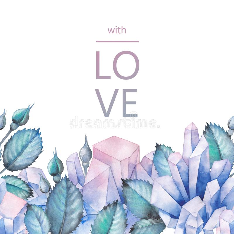 Watercolor design with crystals and leaves royalty free illustration