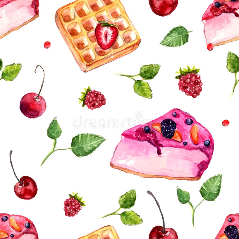 Watercolor desserts and berries seamless pattern. royalty free illustration