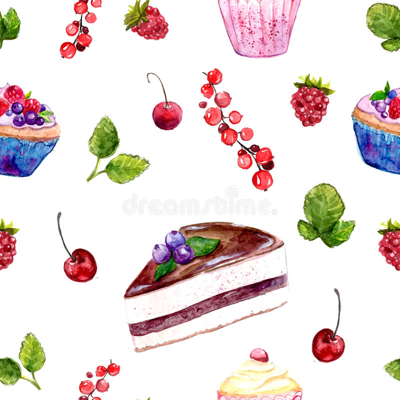 Watercolor desserts seamless pattern with cakes, red currant and cherries. Desserts seamless pattern with cakes, red currant and cherries. Food background with vector illustration