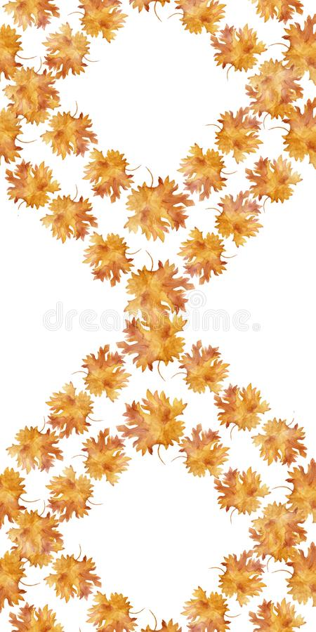 Watercolor diamond shaped frame colorful autumn maple leaves in a round dance isolated on white background. Flower pattern for beautiful wedding invitation vector illustration