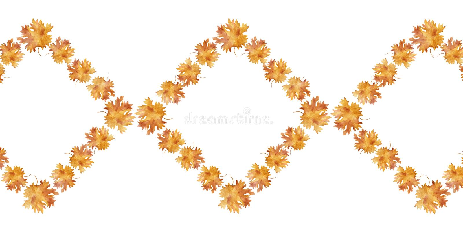 Watercolor diamond shaped frame colorful autumn maple leaves in a round dance isolated on white background. Flower pattern for beautiful wedding invitation stock illustration
