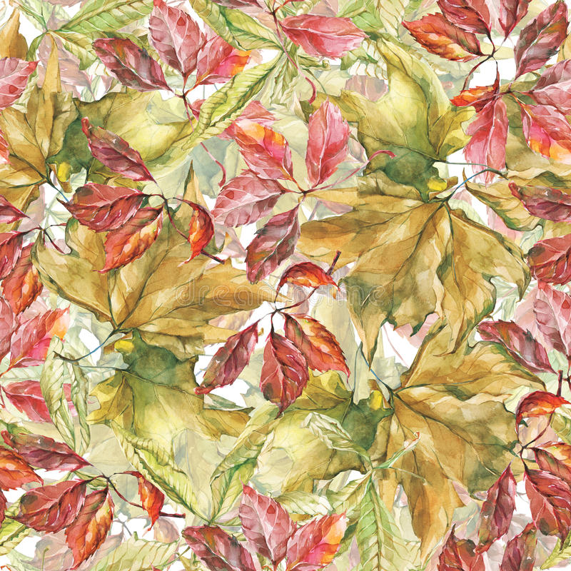 Watercolor different leaves seamless pattern stock illustration