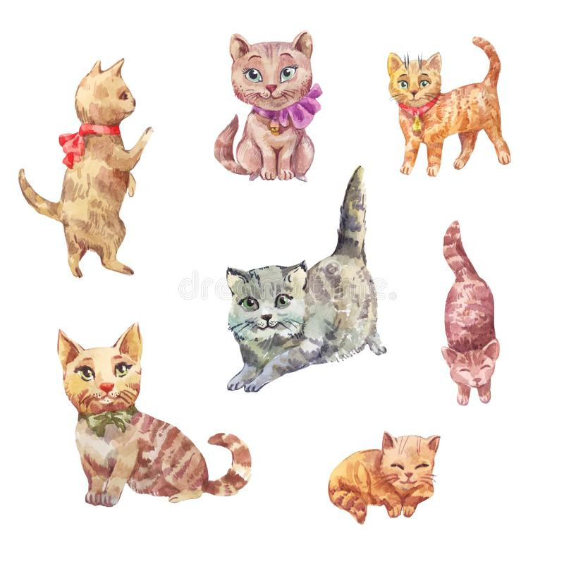 Watercolor cats. Cute pets illustration. stock illustration