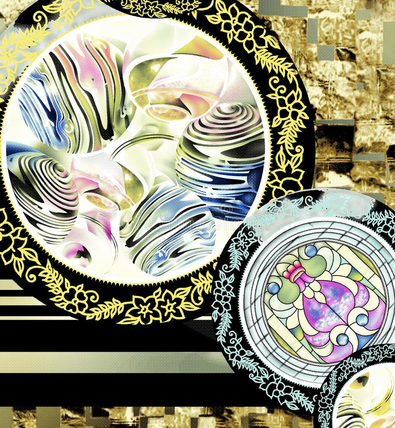 Watercolor digital flower pattern on black royalty free illustration